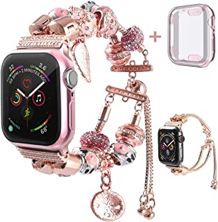 KoudHug 2 in 1 DIY Bracelet Compatible Apple Watch Band 38mm 40mm 42mm 44mm with Case iWatch Series 4 3 2 1, Jewelry Beaded Apple Watch Band Women Cuff Wristband (Rose Gold, 38mm Band/Case)