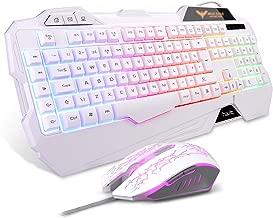 Gaming Keyboard {UK Layout}, HAVIT Rainbow LED Backlit Wired Keyboard and Mouse Combo Set, White