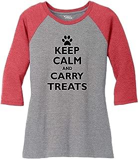 Comical Shirt Ladies Keep Calm and Carry Treats Cute Dog Trainer Gift 3/4 Raglan