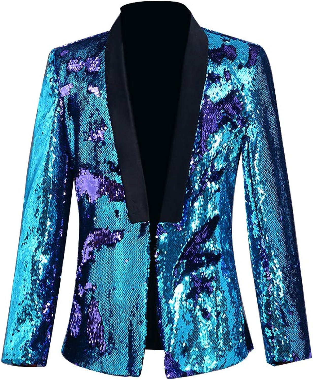 Zweifarbiger Pailletten-Kostüm für Herren, Kostüm, Abendkleid, Disco, DJ, Snger, DJ, Kostüm, optional. M blau+lilat