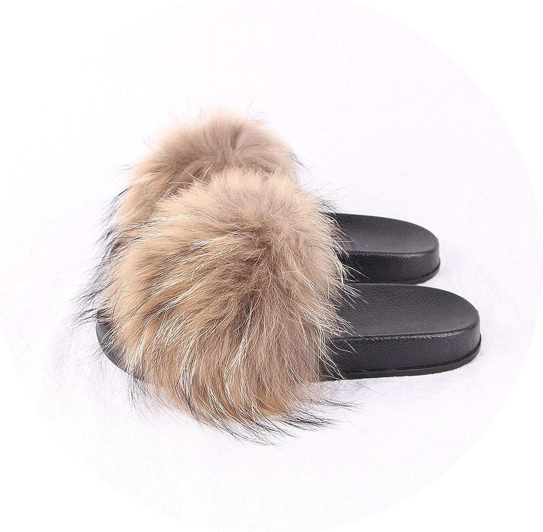 Maggilee PJ1802 2018 New Summer Women shoes Real Raccoon Fur Slipper Luxury Indoor Slides Flats Fluffy Big Raccoon Sandals