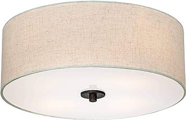 "Sylvan Modern Ceiling Light Flush Mount Fixture Bronze 18"" Wide Off White Oatmeal Fabric Drum Shade for Bedroom Kitchen Living Room Hallway Bathroom - Regency Hill"