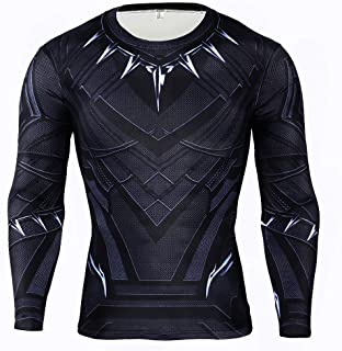 Black Panther T-Shirt, Superhero Shirts for Men Panther Compression Sports Shirt Training Suit