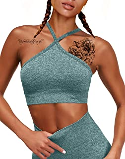 HYZ Women's Seamless Workout Gym Crop Top Adjustable Straps Sports Bra with Removable Padded