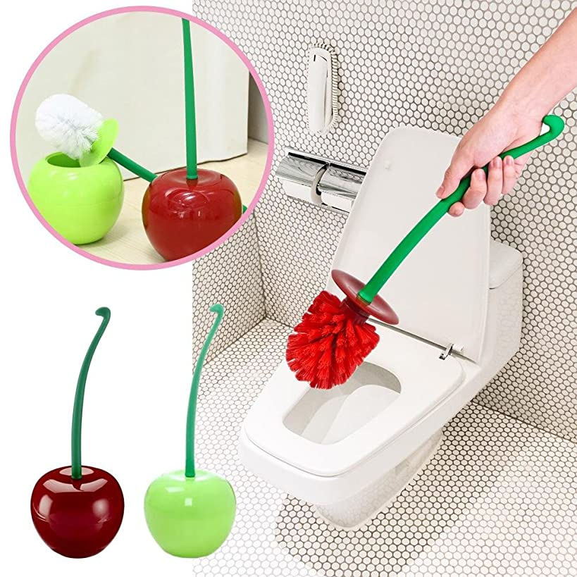Santree Toilet Brush Innovative Lovely Cherry Shaped Toilet Brush Set Lavatory Cleaning Tool Good Grip Compact Toilet Brush