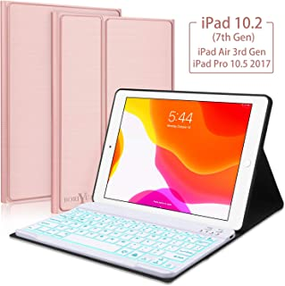 New iPad 10.2 7th Generation 2019 Keyboard Case, Boriyuan 7 Colors Backlit Detachable..