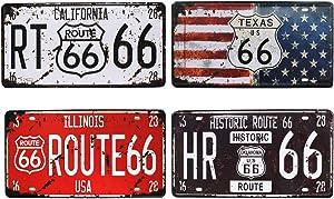 bowzwowz Rural Vintage Route US 66 California Metal Tin Sign, Retro 3D Embossed License Plates, Garage Home Bar Wall Decor
