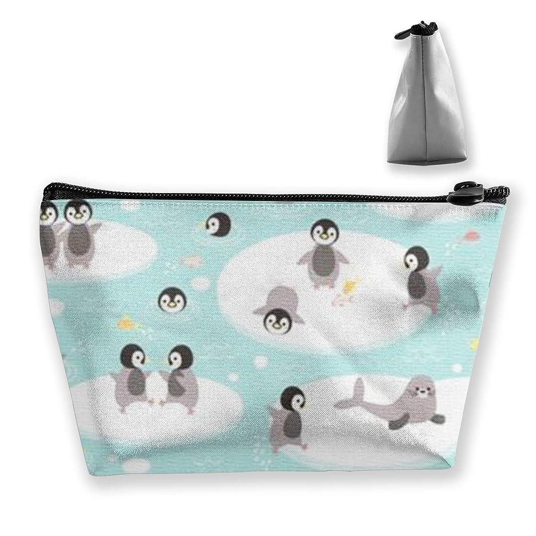 刺す明るくする小売ペンギンと幸せな北極圏 収納ポーチ 化粧ポーチ トラベルポーチ 小物入れ 小財布 防水 大容量 旅行 おしゃれ