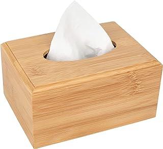 Yeeco Bamboo Tissue Box Holder, Tissue Box Cover Rectangular, Facial Tissue Box Cover with Slide-Out Bottom, Tissue Dispen...