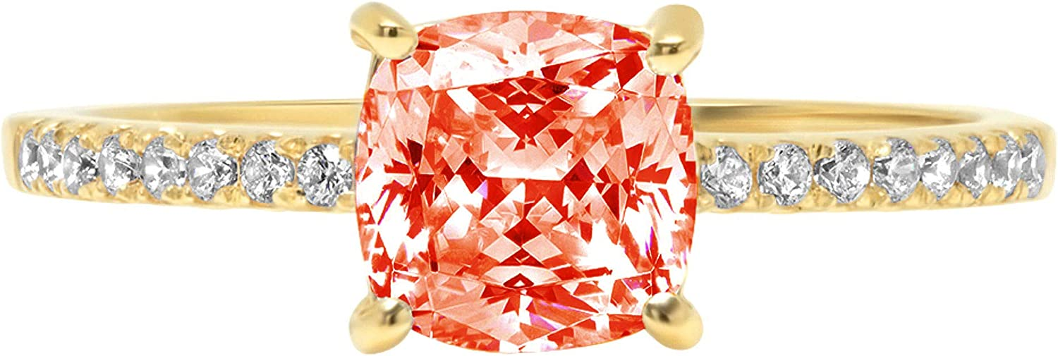 1.6ct Brilliant Cushion Cut Solitaire with Accent Red Ideal VVS1 Simulated Diamond CZ Engagement Promise Statement Anniversary Bridal Wedding Ring Real 14k Yellow Gold