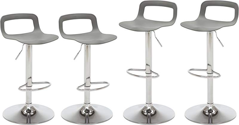 NOBPEINT Contemporary Chrome Air Lift Adjustable Swivel Bar Stool Set Of 4 Grey