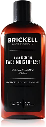 Brickell Men's Daily Essential Face Moisturizer for Men, Natural and Organic Fast-Absorbing Face Lotion with Hyaluronic Acid, Green Tea, and Jojoba, 4 Ounce, Scented product image