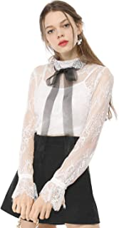Women's Cami W Contrast Color Bowtie Sheer Elegant Lace Blouse
