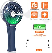 COMLIFE Handheld Misting Fan Portable Fan Facial Steamer-Rechargeable Battery Operated Fan, Foldable Travel Fan with Cooling Humidifier and Colorful Nightlight for Camping, Hiking, Outdoor (Blue)