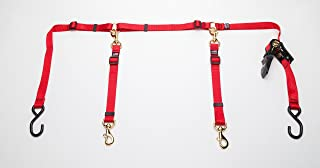 Cetacea Truck Bed Tether with Ratchet Tightening Hardware for Two Dogs - RED Color - One Size