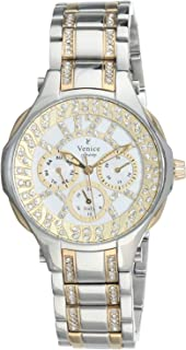 Venice SV4012-IPS-IPG-W Two-Tone Stainless Steel Round Analog Watch for Women - Silver and Gold