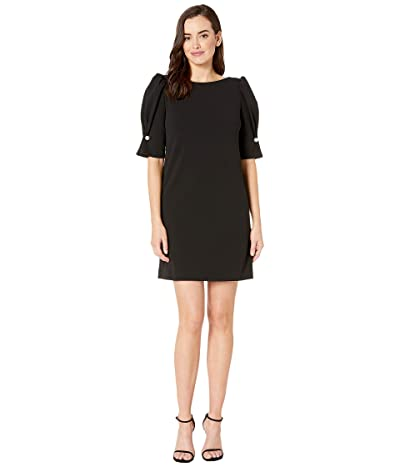 Tahari by ASL Short Puff Sleeve Stretch Crepe Dress (Black) Women