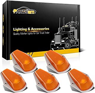 Partsam 5X Top Roof Running Light Cab Marker Light Amber Clearance Covers Lens w/Base Compatible with Ford F150 F250 F350 1980-1997 Super Duty Pickup Trucks