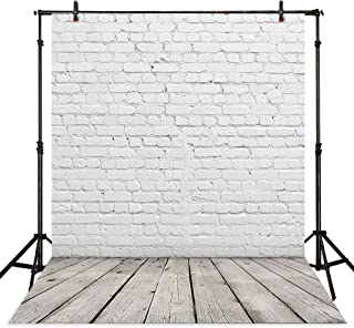 Allenjoy 5x7ft Vinyl White Brick Wall with Gray Wood Floor Backdrop for Newborn or Products Photography Cake Smash Photo Background Studio Props
