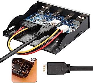 Cablecc USB 3.1 Panel frontal Header a USB-C & USB 3.0 HUB 4 Puertos Panel frontal Placa base Cable para 3.5