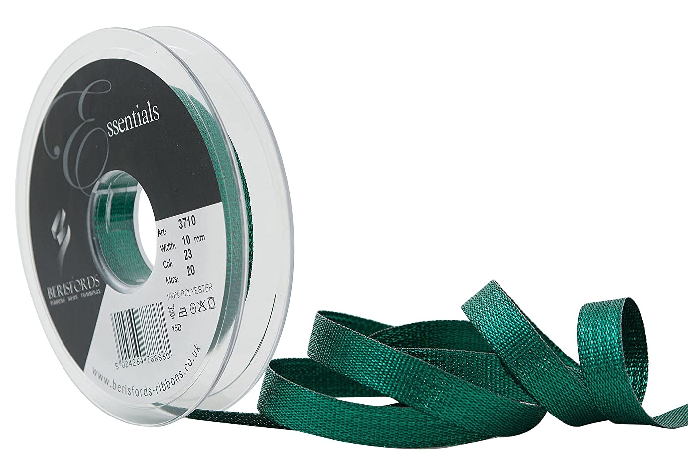 Berisfords R371010/23 | Emerald Textured Metallic Ribbon | 20m x 10mm