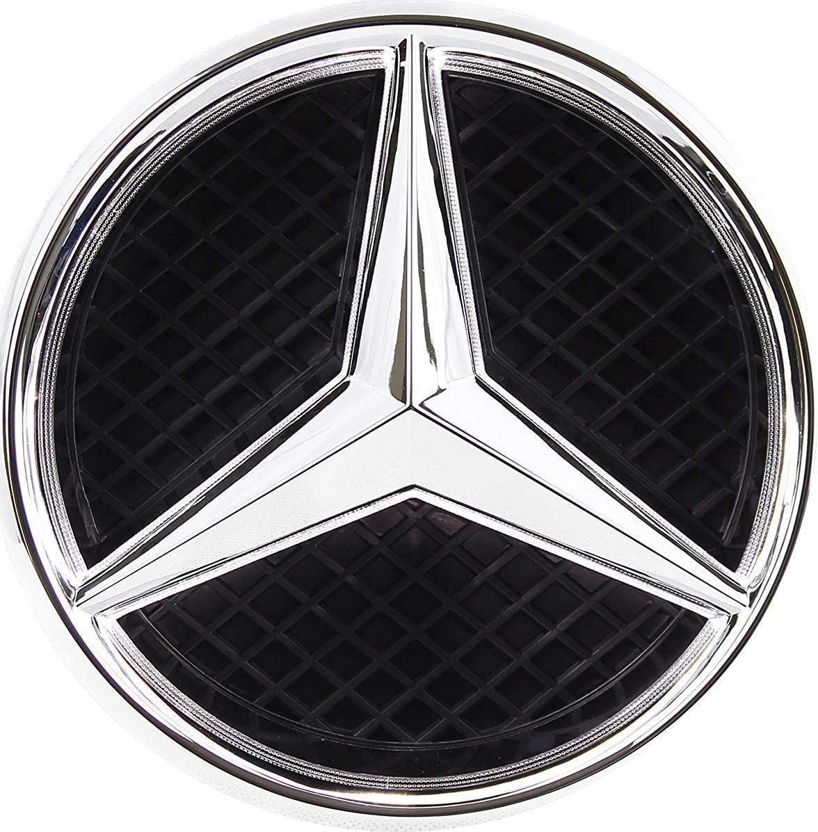 Multicolor, not transparent grid Bearfire Fit Benz Emblem Led Badge Light Car Star Logo Glow Front Grill Illuminated Logo Hood Star DRL