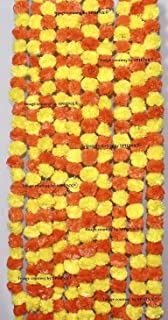 Sphinx Artificial Marigold Fluffy Flowers Garlands for Decoration - Pack of 5 (Yellow & Dark Orange)
