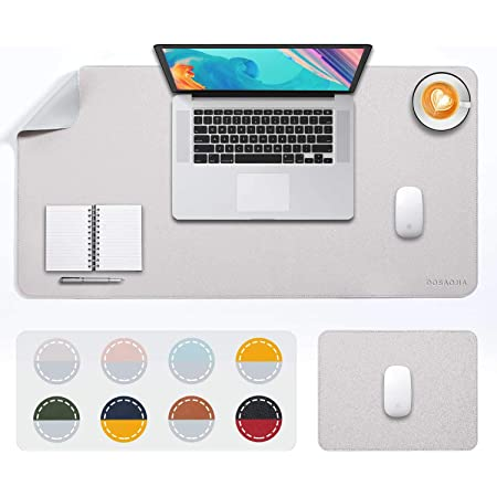 """Desk Pad Large 2Pack DOBAOJIA Extended Mouse Mat Large Mouse Pad XL Desk Blotter Writing Pad, Upgrade Sewing Dual-Side Use PU Leather Waterproof (31.5"""" X 15.7"""" + 11"""" X 7.9"""") Light Gray/Silver"""
