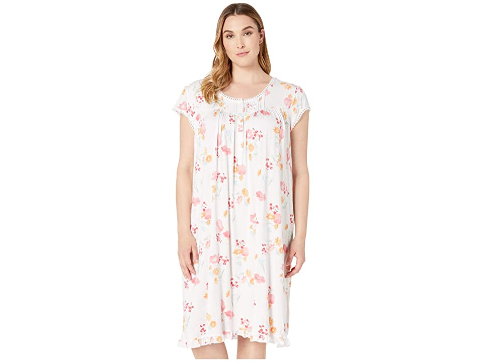 Eileen West Plus Size Modal Spandex Knit Short Sleeve Waltz Nightgown (White Ground Multi Floral) Women