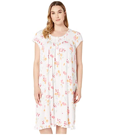 Eileen West Plus Size Modal Spandex Knit Short Sleeve Waltz Nightgown (White Ground Multi Floral) Women