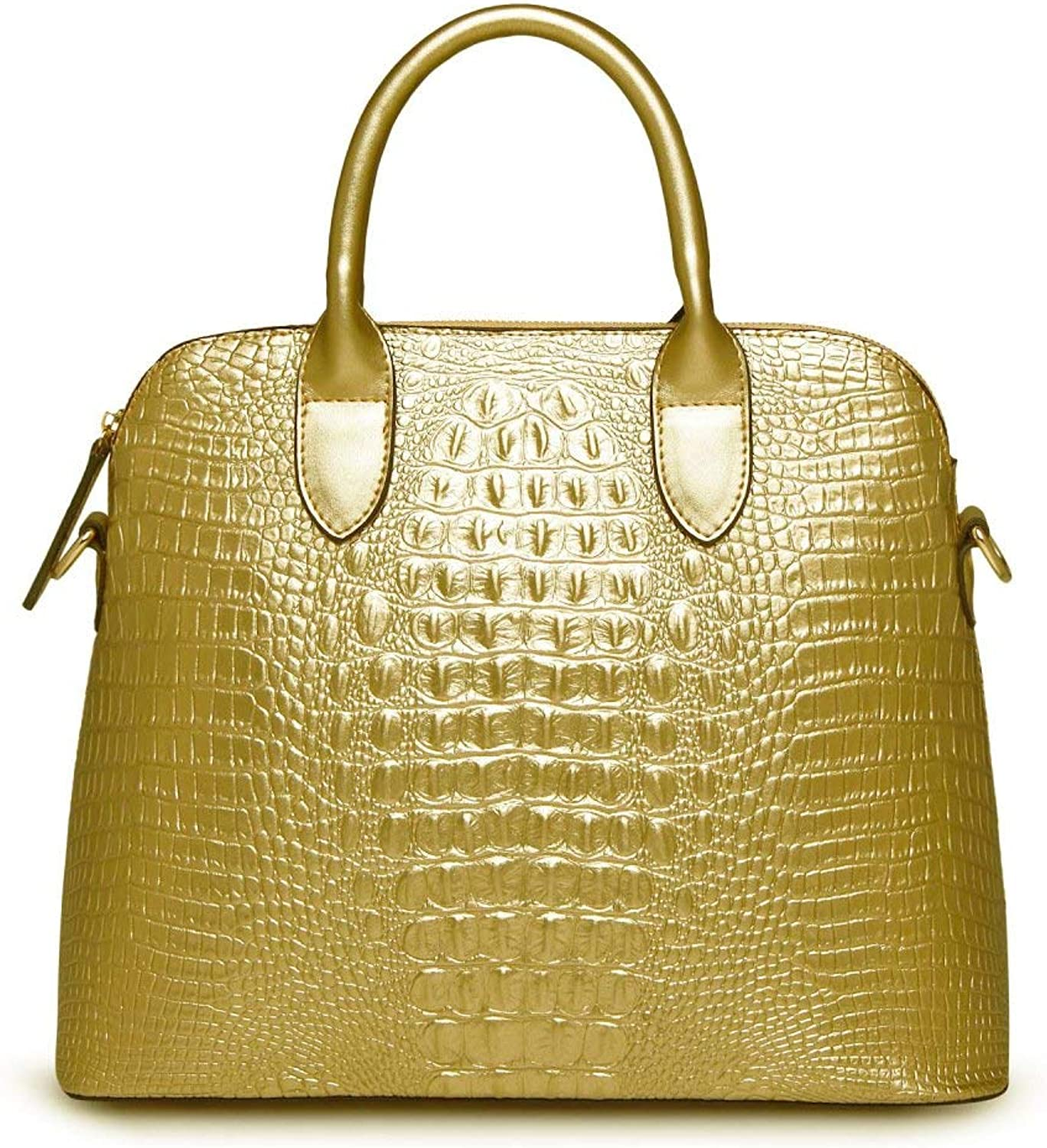 Ladies Handbag Shoulder Bag Long Strap Handbag Simple Crocodile Pattern Handbag Shell Bag Leather Handbag (color   gold, Size   One Size)