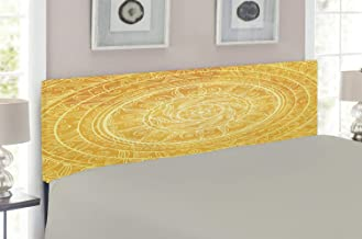 Lunarable Yellow Mandala Headboard, Vintage Lace Style Circles Sun Inspired Cosmic Blossom Moroccan, Upholstered Decorative Metal Headboard with Memory Foam, for Full Size Bed, Yellow Orange