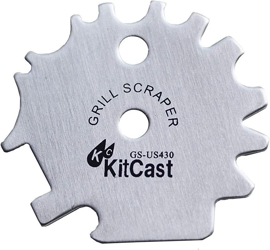 KitCast Stainless Steel BBQ Grill Scraper Bristle Free Barbeque Cleaner Safer Than Grill Brush For Cleaning Your Barbecue Grate Griddle Scraper Multi Purpose BBQ Accessories Camping Ideas