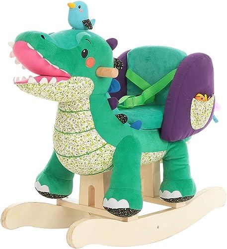 HONNIEKIS Plüsch Schaukelpferd Spielzeug - Größes Krokodil, h ernes Schaukelpferd für Kinder 1,2,3 Jahre, Geschenk für Kinder