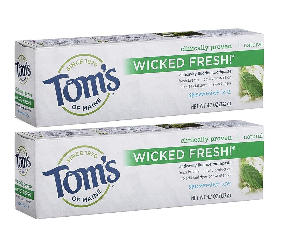 風社説もろいTom's of Maine Wicked Fresh Long Lasting Fresh Breath Fluoride Toothpaste, Spearmint Ice, 4.7-Ounce by Tom's of Maine