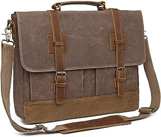 Messenger Bag for Men 15.6inch Waterproof Waxed Canvas Genuine Leather Briefcase Computer Laptop Messenger Bag Large Satchel Shoulder Bag Brown