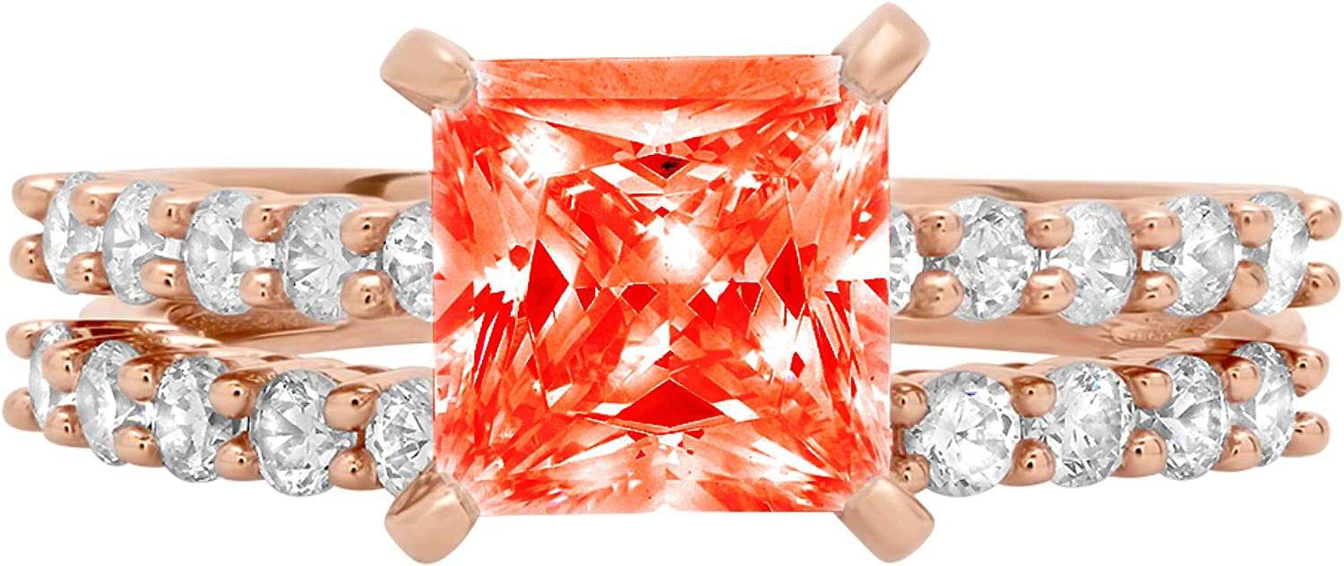2.6ct Princess Cut Pave Solitaire with Accent VVS1 Ideal Red Simulated Diamond CZ Engagement Promise Designer Anniversary Wedding Bridal ring band set 14k Rose Gold