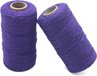 YZSFIRM 2mm Cotton Twine Rope,Purple String Bakers Twine for DIY Crafts and Gift Wrapping(2 Roll 656 Feet)