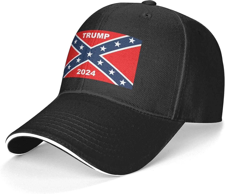 Confederation Flag Trump 2024 Baseball Caps Dad Cap Sun Hat Adjustable Sports Casquette for Men Women Black