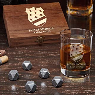 Thin Blue Line Badge Engraved Whiskey Gift Set with Black Onyx Whiskey Stones (Personalized Product)