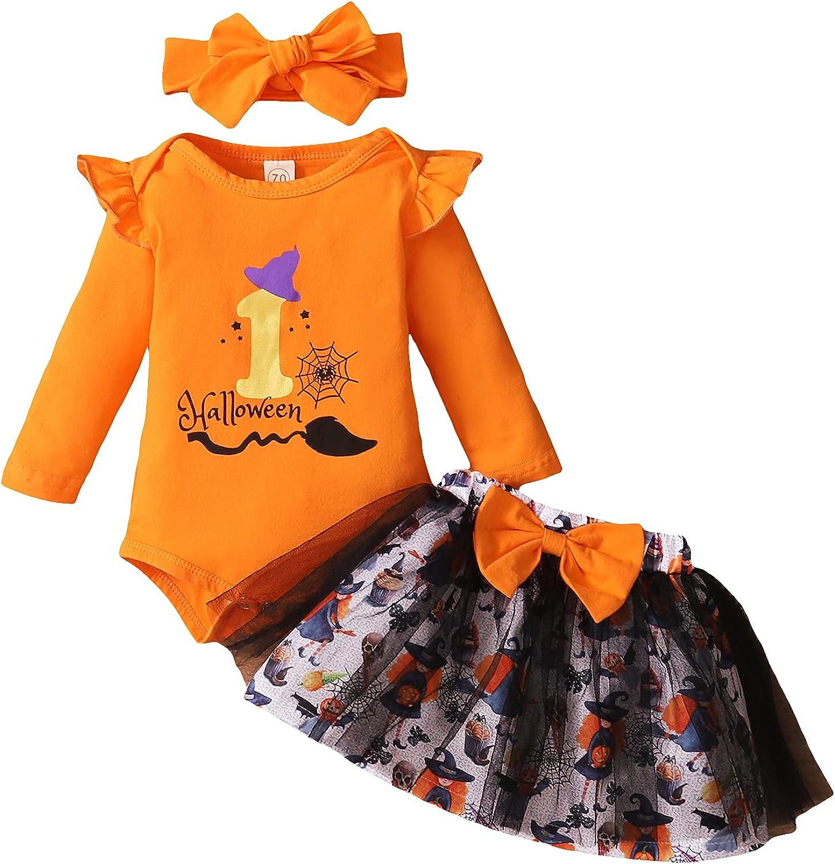 i-Keaui My 1st Halloween Outfits Newborn Baby Boy Girl Romper + Pants/ Tutu Skirt + Hat/Headband