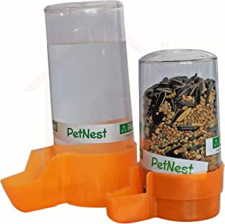 PetNest Birds Cage Water and Food Feeder (200 and 400 ml) Combo