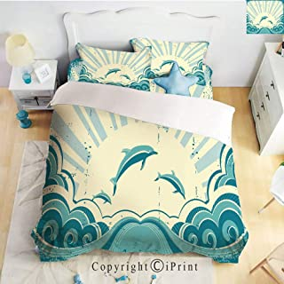 Homenon Luxury 4-Piece Bed Sheet,Hide Zipper Closure,Nautical Inspirations in Dolphins with Rising Sun and Swirled Ocean Waves,Teal Pale Yellow,King Size