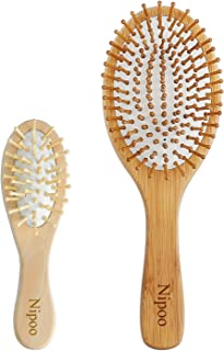 Nipoo Wooden Paddle Hair Brush + Free Mini Brush, Bamboo Bristles Detangling Hairbrush for Women Men and Kids - Reduce Frizz and Massage Scalp(9 inch)