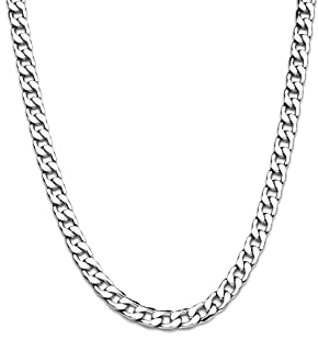 Elekut 9 mm Mens Chain Necklace - Cuban Link Chain - Stainless Steel Silver Chain for Men - Stainless Steel Chain - Mens Silver Chain 18 20 22 24 26 28 inc