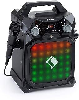 auna Rockstage LightShow Equipo de karoke - Bluetooth, USB: reproducción y grabación, Efecto de luz Multicolor con Ecualizador, Funcionamiento por batería, 2 entradas de micrófono de 6,3 mm, Negro