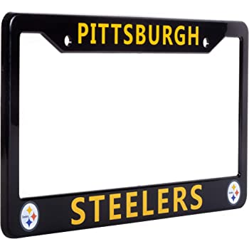 "NFL Car Accessory EliteAuto3K Pittsburgh Steelers License Plate Frame Cover Black 12.25/"" x 6.25/"" Slim Design Ideal Gift for Sports Fans /& Supporters"