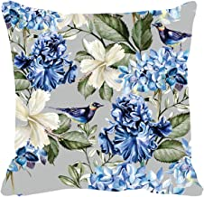 TheYaYaCafe® 16X16 inches Cushion Cover Alluring Bird Floral Flowers Printed Sofa Throw Pillows