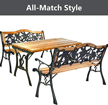 Giantex 50'' Patio Bench, Outdoor Furniture Rose Cast Iron Hardwood Frame Porch Loveseat, Weather Proof Porch Path Ch