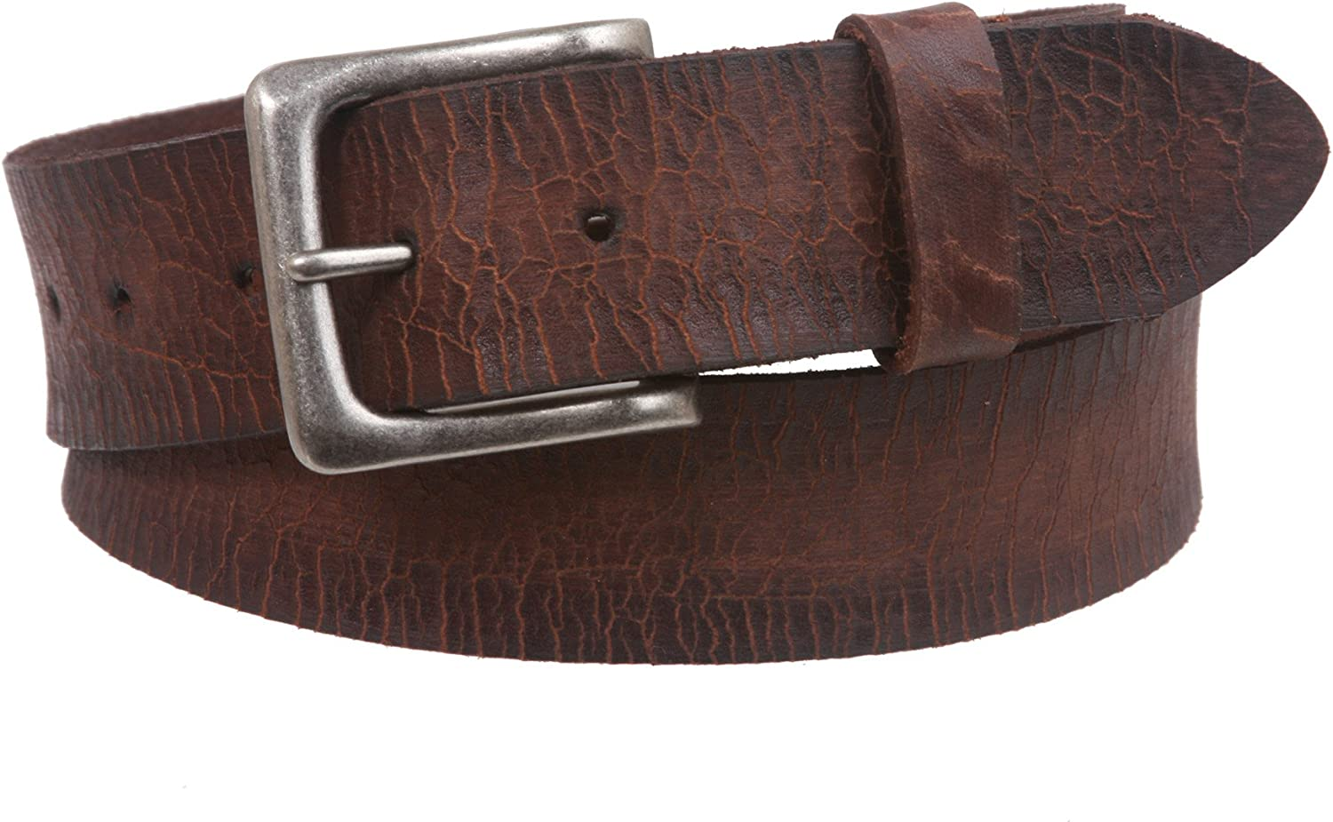 1 1 2  Snap On Cowhide Full Grain Leather Distressed Casual Belt
